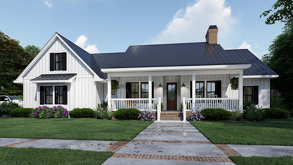 Cottage, Country, Farmhouse Plan with 2192 Sq. Ft., 4 Bedrooms, 3 Bathrooms, 2 Car Garage Elevation