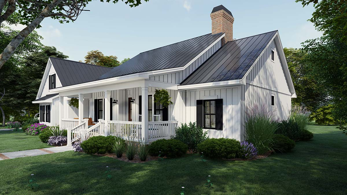 Cottage, Country, Farmhouse Plan with 2192 Sq. Ft., 4 Bedrooms, 3 Bathrooms, 2 Car Garage Picture 2