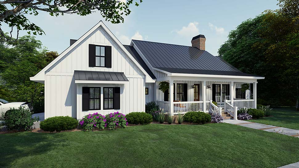 Cottage, Country, Farmhouse Plan with 2192 Sq. Ft., 4 Bedrooms, 3 Bathrooms, 2 Car Garage Picture 4