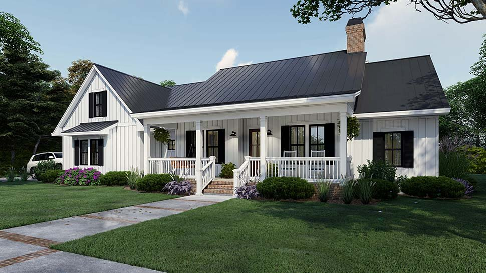 Cottage, Country, Farmhouse Plan with 2192 Sq. Ft., 4 Bedrooms, 3 Bathrooms, 2 Car Garage Picture 5