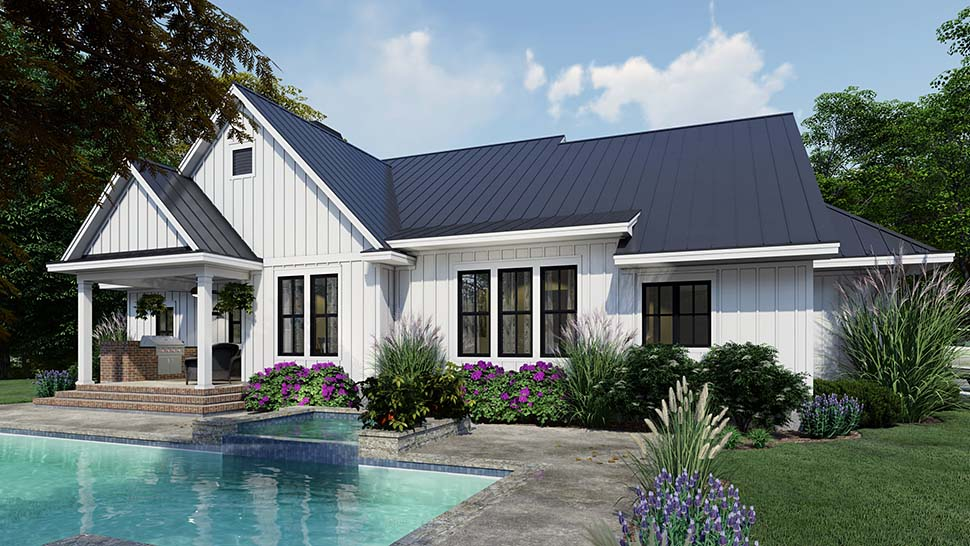 Cottage, Country, Farmhouse Plan with 2192 Sq. Ft., 4 Bedrooms, 3 Bathrooms, 2 Car Garage Picture 7