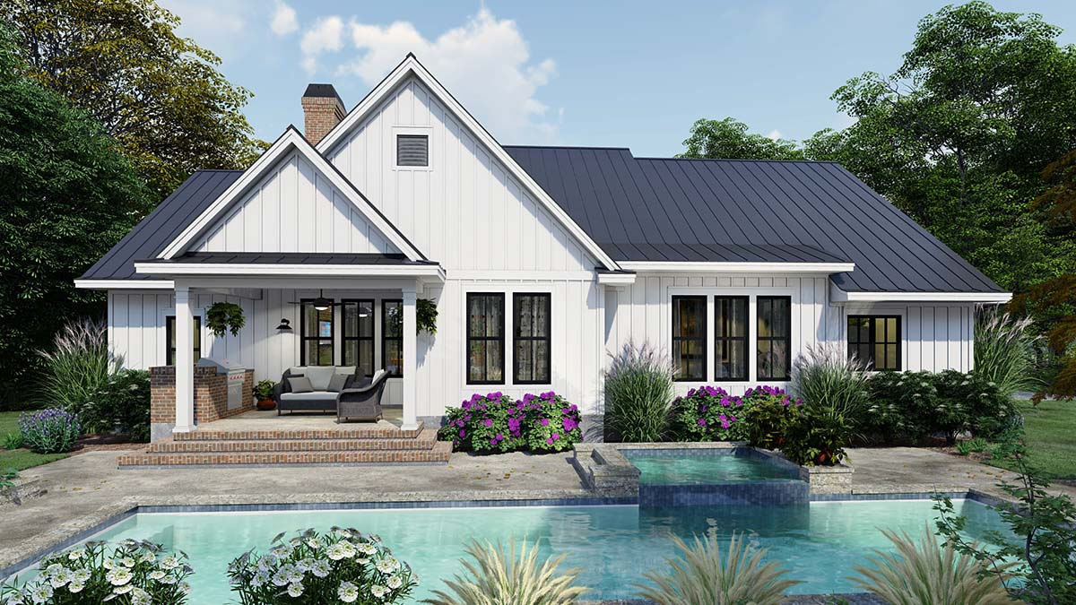 Cottage, Country, Farmhouse Plan with 2192 Sq. Ft., 4 Bedrooms, 3 Bathrooms, 2 Car Garage Rear Elevation