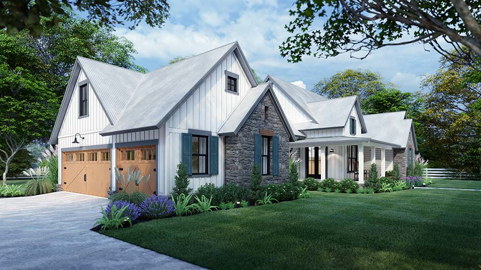 Cottage, Farmhouse, Southern, Traditional House Plan 75166 with 3 Beds, 3 Baths, 2 Car Garage Picture 4