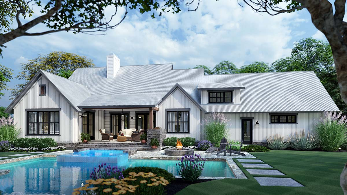 Cottage, Modern Farmhouse, Southern, Traditional House Plan 75166 with 3 Beds, 3 Baths, 2 Car Garage Rear Elevation