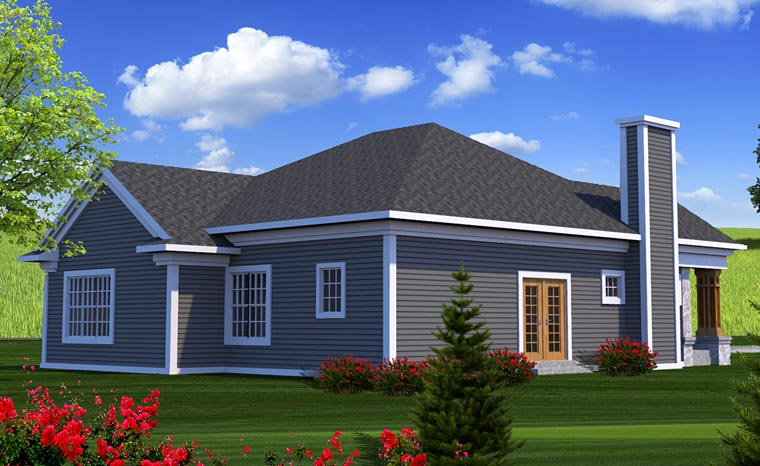 Craftsman , European House Plan 75200 with 3 Beds, 2 Baths, 3 Car Garage Rear Elevation