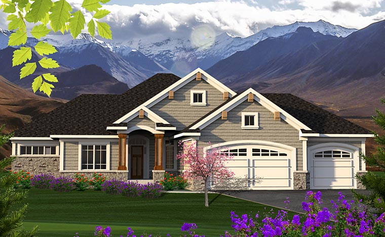 Cottage, Craftsman, Traditional House Plan 75201 with 2 Beds, 2 Baths, 3 Car Garage Elevation