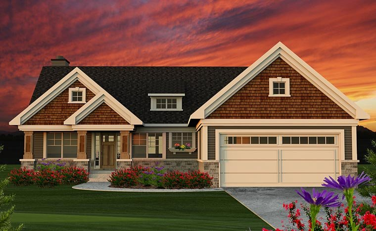 Traditional , Craftsman , Cottage House Plan 75202 with 2 Beds, 2 Baths, 2 Car Garage Elevation