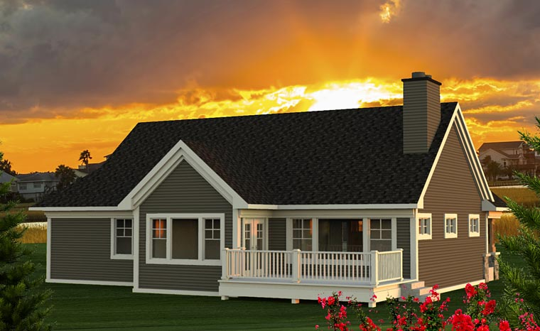 Traditional , Craftsman , Cottage House Plan 75202 with 2 Beds, 2 Baths, 2 Car Garage Rear Elevation