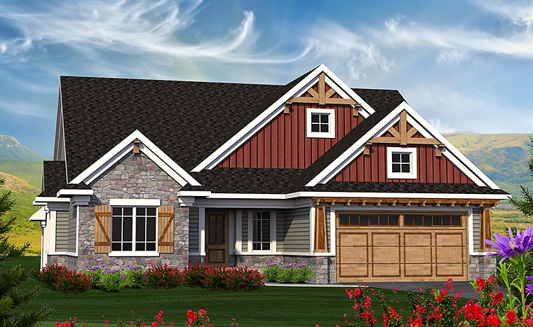 Cottage Craftsman Traditional House Plan 75207 Elevation