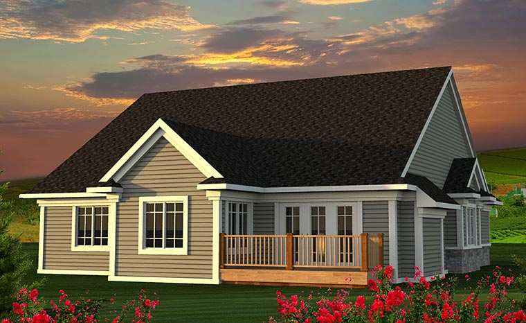Cottage Craftsman Traditional House Plan 75207 Rear Elevation