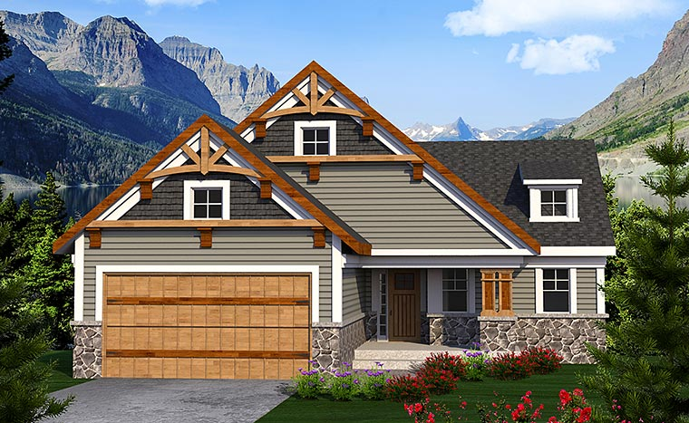 Cottage , Craftsman , Traditional House Plan 75208 with 2 Beds, 3 Baths, 2 Car Garage Elevation