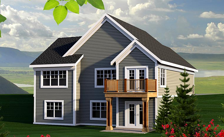 Cottage , Craftsman , Traditional House Plan 75208 with 2 Beds, 3 Baths, 2 Car Garage Rear Elevation