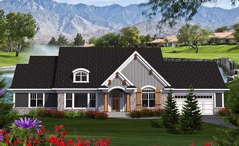 Cottage, Craftsman, Traditional House Plan 75209 with 3 Beds, 2 Baths, 2 Car Garage Elevation