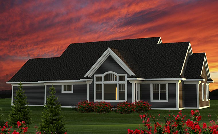 Cottage, Craftsman, Traditional House Plan 75209 with 3 Beds, 2 Baths, 2 Car Garage Rear Elevation