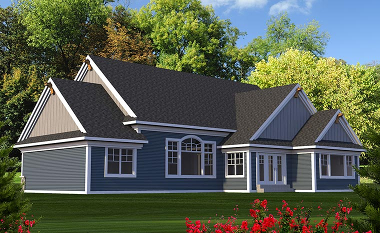 Craftsman Traditional Rear Elevation of Plan 75210