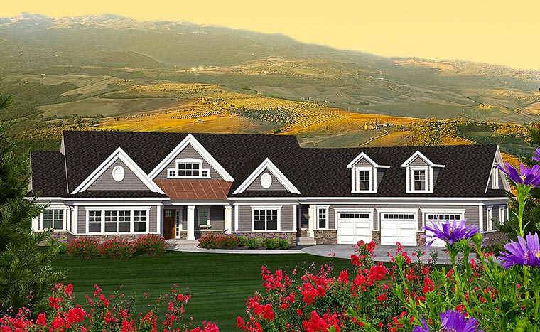 Craftsman, Traditional House Plan 75211 with 2 Beds, 2 Baths, 3 Car Garage Elevation