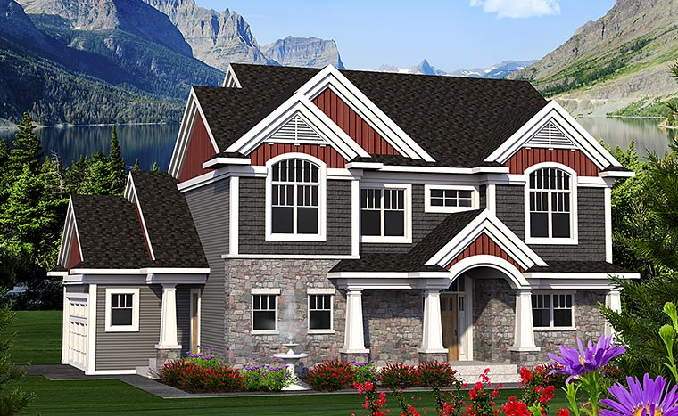 Craftsman , European , Traditional , Elevation of Plan 75213