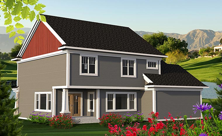 Craftsman , European , Traditional , Rear Elevation of Plan 75213