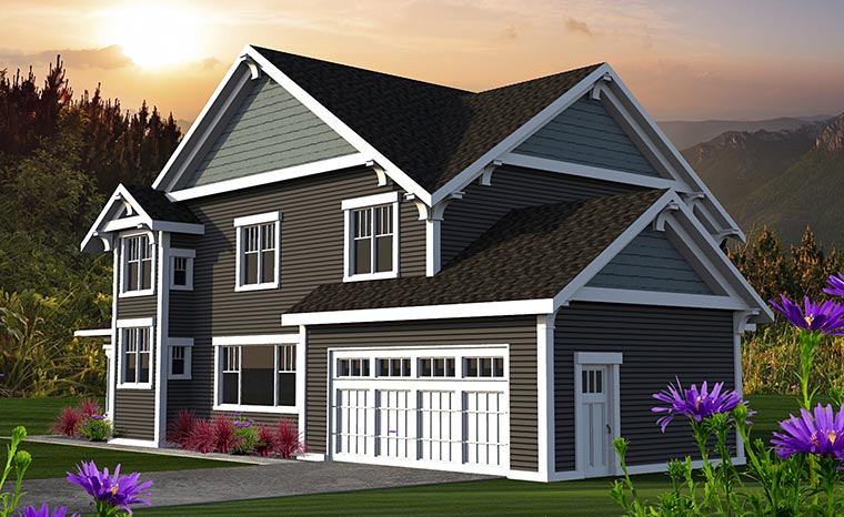 Craftsman Traditional House Plan 75214 Rear Elevation