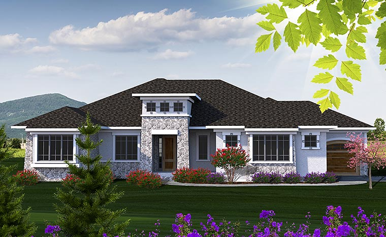 Contemporary , Tuscan , Elevation of Plan 75217