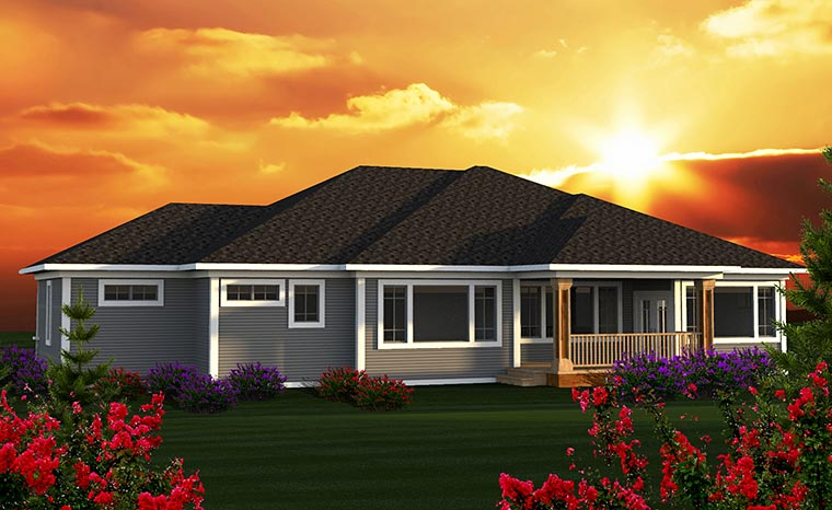 Contemporary, Tuscan House Plan 75217 with 3 Beds, 3 Baths, 3 Car Garage Rear Elevation
