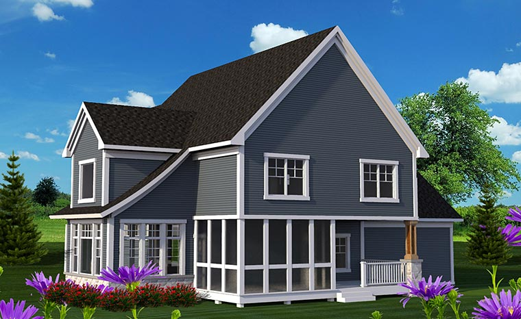 Traditional House Plan 75218 with 3 Beds, 3 Baths, 2 Car Garage Rear Elevation