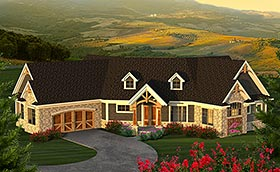House Plan 75219 | Craftsman Traditional Style Plan with 2516 Sq Ft, 2 Bedrooms, 3 Bathrooms, 2 Car Garage Elevation