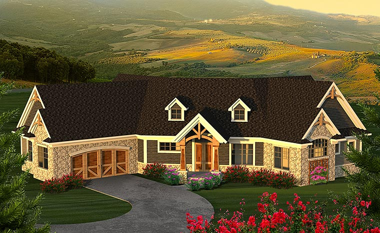 Craftsman, Traditional House Plan 75219 with 2 Beds, 3 Baths, 2 Car Garage Elevation