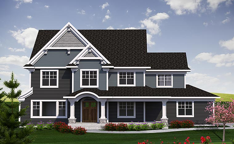 Traditional House Plan 75220 with 4 Beds, 3 Baths, 2 Car Garage Elevation