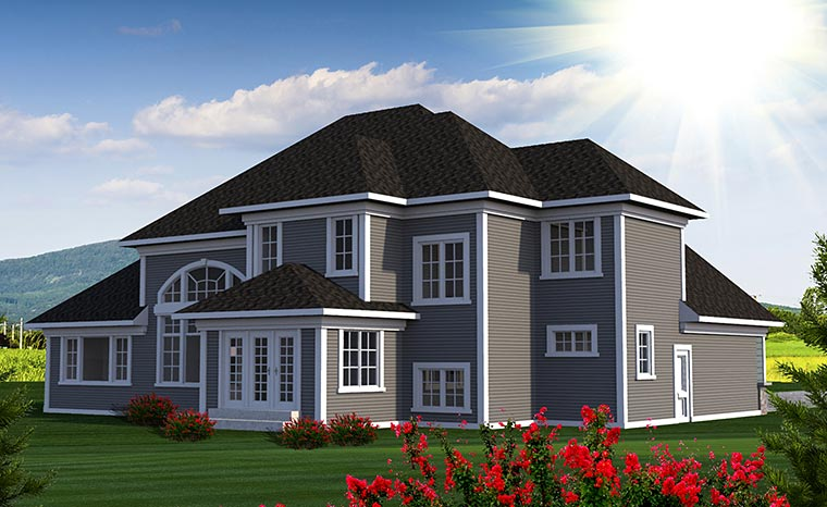 European House Plan 75221 Rear Elevation