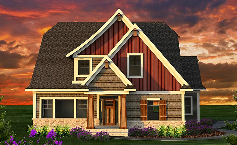 House Plan 75223 | Bungalow Country Craftsman Style Plan with 2712 Sq Ft, 4 Bedrooms, 3 Bathrooms, 2 Car Garage Elevation