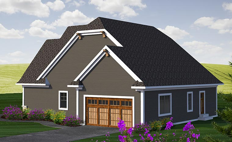 House Plan 75223 | Bungalow Country Craftsman Style Plan with 2712 Sq Ft, 4 Bedrooms, 3 Bathrooms, 2 Car Garage Rear Elevation