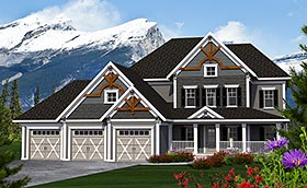 House Plan 75224 | Traditional Style Plan with 2952 Sq Ft, 4 Bedrooms, 3 Bathrooms, 3 Car Garage Elevation