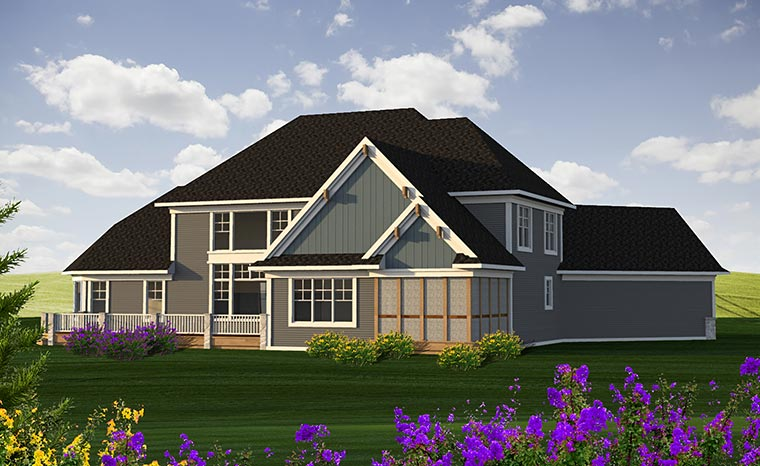 Craftsman European Traditional House Plan 75227 Rear Elevation