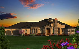 House Plan 75228 | Italian, Tuscan Style House Plan with 5230 Sq Ft, 4 Bed, 5 Bath, 4 Car Garage Elevation