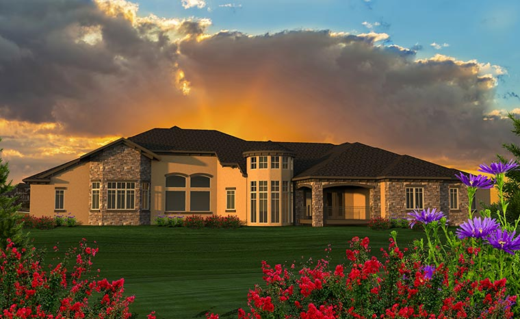 House Plan 75228 | Italian, Tuscan Style House Plan with 5230 Sq Ft, 4 Bed, 5 Bath, 4 Car Garage Rear Elevation