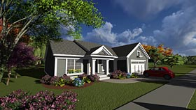 Traditional , Ranch House Plan 75231 with 2 Beds, 2 Baths, 2 Car Garage Elevation