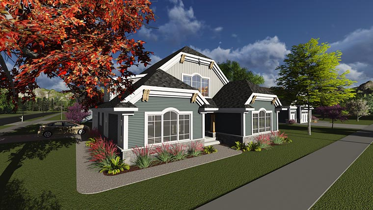 Contemporary Craftsman House Plan 75236 Elevation