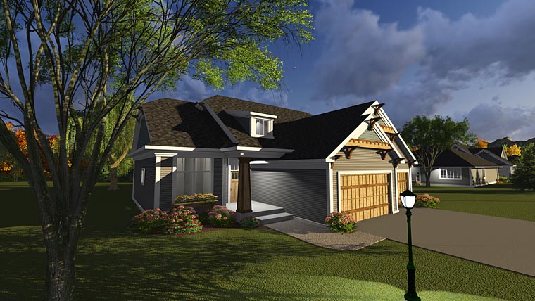 Bungalow, Cottage House Plan 75237 with 3 Beds, 2 Baths, 3 Car Garage Elevation