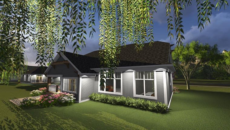 Bungalow, Cottage House Plan 75237 with 3 Beds, 2 Baths, 3 Car Garage Rear Elevation