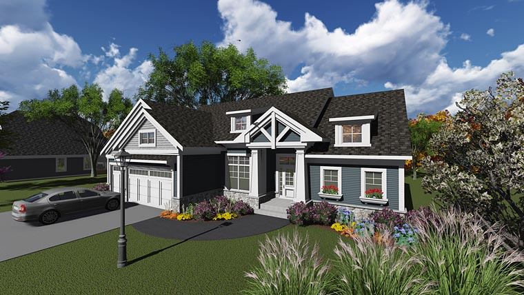Bungalow, Craftsman House Plan 75239 with 2 Beds, 3 Baths, 3 Car Garage Elevation