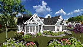 Cottage Craftsman Traditional House Plan 75242 Elevation