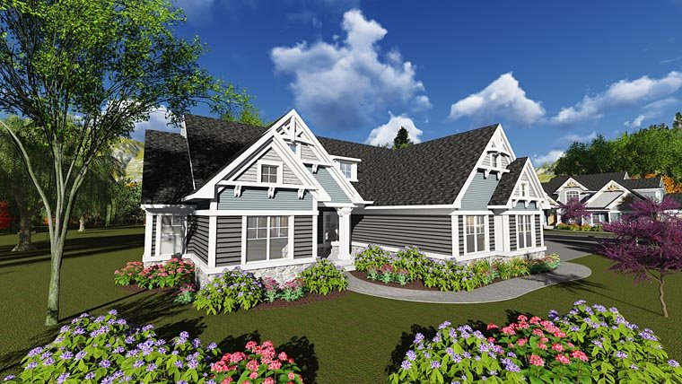 Cottage Craftsman Traditional House Plan 75242 Elevation