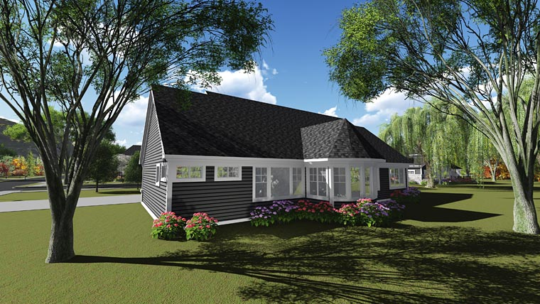 Cottage Craftsman Traditional House Plan 75242 Rear Elevation
