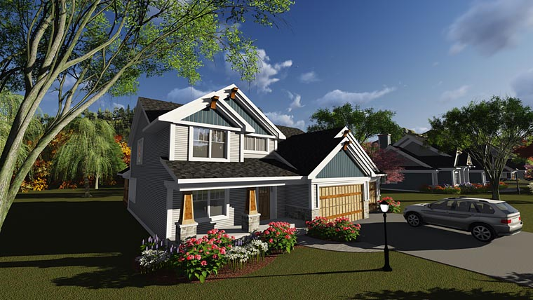 Bungalow, Craftsman, Traditional House Plan 75244 with 4 Beds, 3 Baths, 3 Car Garage Elevation