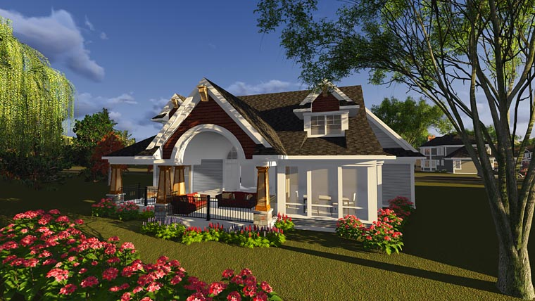 House Plan 75245 | Bungalow Cottage Craftsman Style Plan with 2867 Sq Ft, 4 Bedrooms, 4 Bathrooms, 2 Car Garage Rear Elevation