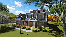 Bungalow , Colonial , Craftsman House Plan 75247 with 4 Beds, 3 Baths, 3 Car Garage Elevation
