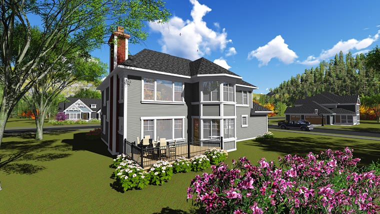 Bungalow Colonial Craftsman House Plan 75247 Rear Elevation
