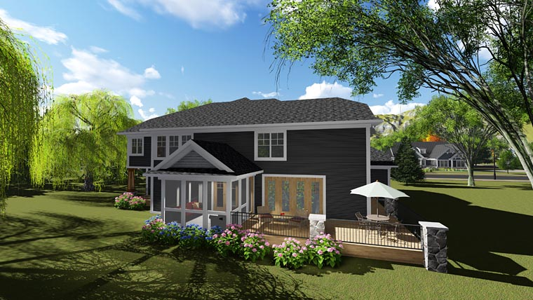 Craftsman , Contemporary , Bungalow House Plan 75249 with 6 Beds, 5 Baths, 3 Car Garage Rear Elevation