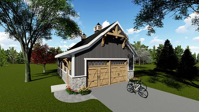 Country, Craftsman 2 Car Garage Plan 75250 Elevation